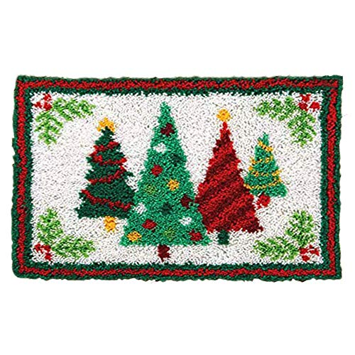 MLADEN Latch Hook Rug Kit DIY Craft Embroidery Christmas Shaggy Decoration Crochet Hook Rug for Adults Kids (Xmas Tree)