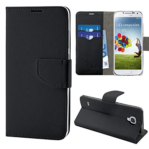 N NEWTOP Cover Compatibile per Samsung Galaxy S4 (i9500), HQ Lateral Custodia Libro Flip Chiusura Magnetica Portafoglio Simil Pelle Stand (Nero)
