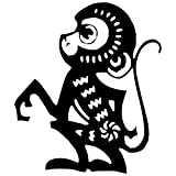 Monkey Chinese Zodiac Wall Decal Sticker - Decal Stickers and Mural for Kids Boys Girls Room and Bedroom. Zodiac Wall Art for Home Decor and Decoration - Chinese New Year Silhouette Mural
