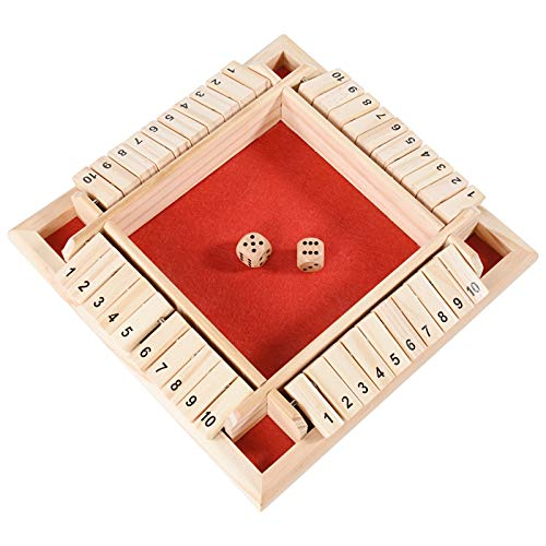 1-4 Players Shut The Box Dice Game, Classic 4 Sided Wooden Board Game with 8 Dice and Shut-The-Box Instructions for Kids Adults, Classics Tabletop Version and Pub Board Game (Red)