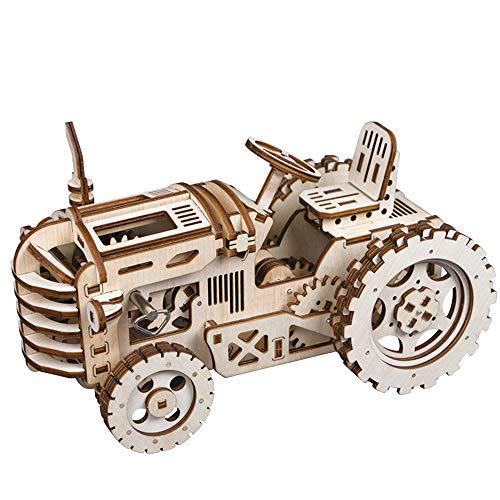 Robotime Rompecabezas de Madera 3D Cortado con láser - Kits de Modelo autopropulsados - Juego de construcción mecánica - Rompecabezas para niños, Adolescentes y Adultos (Tractor)