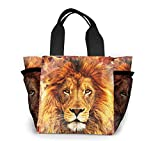 Lsjuee Cool Fire Lion Flame King Picnic Bag Lunch Bag Gran capacidad Unisex School Travel Camping Shopping Bag