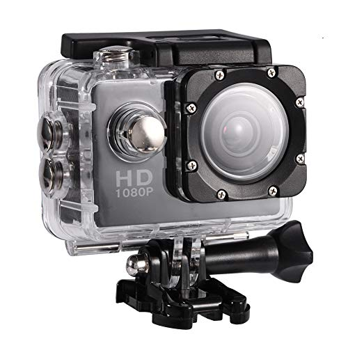 Lazmin 1080P Cámara Deportiva a Prueba de Agua, Mini DV Cámara de acción Videocámara USB 2 Pulgadas 12MP Cámara subacuática(Negro)