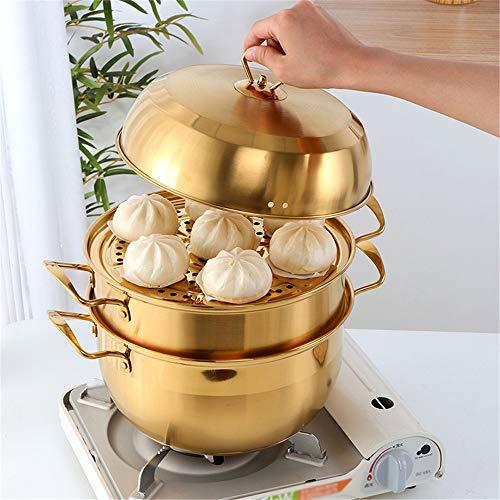 Olla de vapor de acero inoxidable de 2 niveles-Juego de olla de vapor de 10.2 pulgadas con tapa para cocinar sopa, olla de vapor para alimentos, funciona con la parte superior de la estufa de parrilla