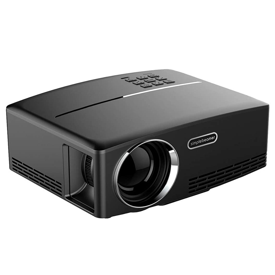 GP80 LED Projector - 1800 lumens 1080P Full HD Mini Portable Home Entertainment Projector, Movie Projectors, Brightness Video Projector, Home Entertainment (? Black)