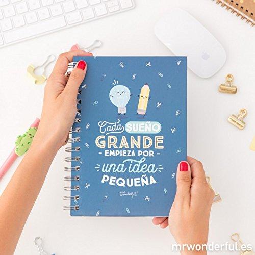Mr. Wonderful WOA08546ES - Libreta con mensaje Cada sueño grande empieza por una pequeña idea, 14.8 x 21 cm, multicolor
