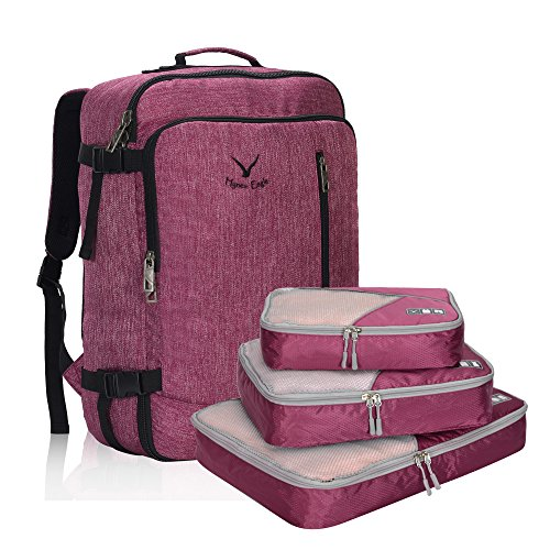 Hynes Eagle unisex genehmigt 38l flug weekender carry on rucksack Rot Violet with Fuschia 3PCS Packing Cubes Backpack with Cubes
