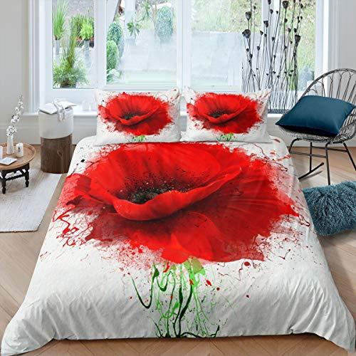 Set di biancheria da letto per bambini e adolescenti e adulti con papaveri rossi e fiori di papavero, set copripiumino romantico per la natura botanica copriletto, 3 pezzi, super king size