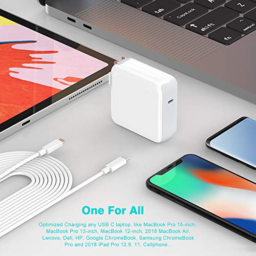 87W U   SB C Charger Power Adapter for MacBook Pro 15 inch 13 inch, MacBook 12 inch, MacBook Air, Thunderbolt 3 Port Type C, 2018 iPad Pro 12.9, 11, LED Indicator, 5A 6.6ft USB C to C Cable, A1707 A1990
