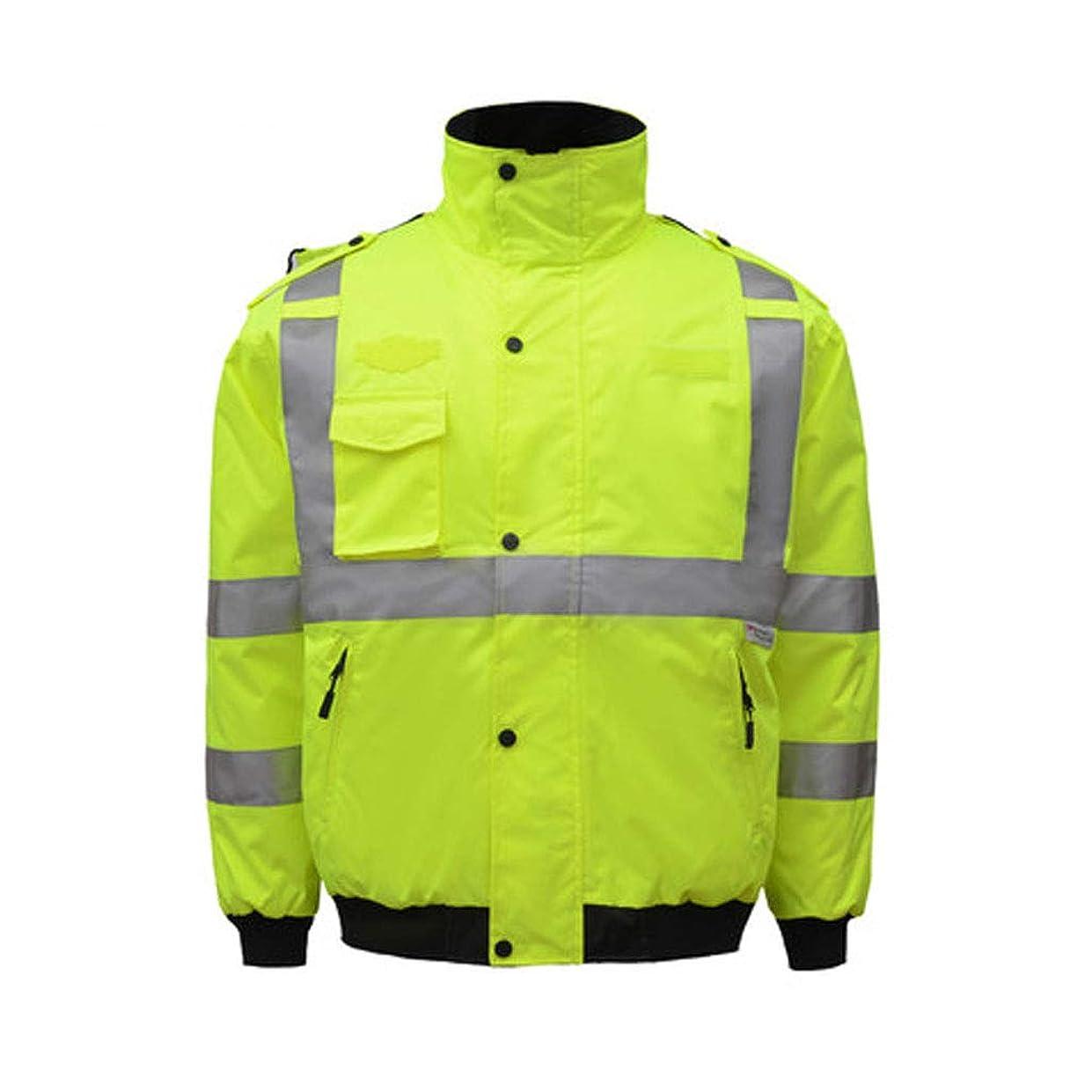 繊細ブレンド改修梁友 安全ジャケット 反射ベスト - メンズ反射綿コート交通交通安全作業服コールドウェーブ厚い綿のジャケット (色 : 緑, サイズ さいず : XXL)