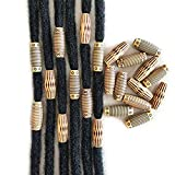 60PCS Dreadlocks Beads Wood-like Hair Jewerly Imitation Wood Long Tube Beads Hair Accessories For Braids Twists Locs DIY Craft Barrel Beads