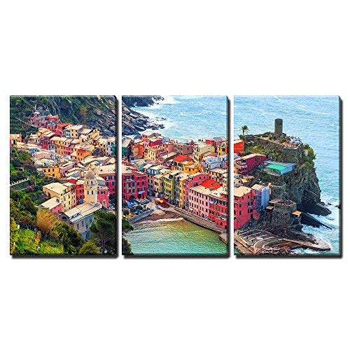 """wall26 - 3 Piece Canvas Wall Art - Vernazza in Cinque Terre, Italy, View from Mountain Trekking Path - Modern Home Decor Stretched and Framed Ready to Hang - 16""""x24""""x3 Panels"""