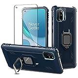 PULEN Schutzhülle für OnePlus 8T / OnePlus 8T / 5G, mit 1 x Bildschirmschutzfolie & 1 x Objektivschutz, Metallringhalter, magnetische Autohalterung, stoßfeste Schutzhülle (blau)