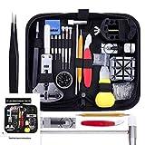 Juego de 148 herramientas de reparación profesional con estuche de transporte, juego de destornilladores para relojeros, alicates de bisel y alicates de conectividad, reemplazo de batería de reloj