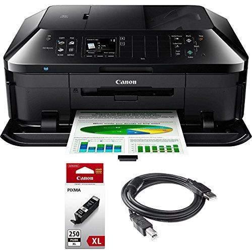 Canon PIXMA MX922 Wireless Inkjet Office All-In-One Printer + Genuine Canon Ink PGI-250 Pigment Black XL Ink + Printer Cable