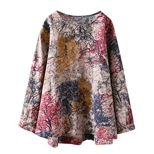 HIKO23 Vrouwen Linnen Shirts Plus Size Lange Mouw Bloemen Print Casual Shirt Ronde hals Oversized Blouse Topjes S-5XL