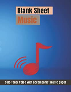 Blank Sheet Music Solo-Tenor Voice with Accompanist music paper, Lighting equipment,spotlight, electric lamp cover, 100 pa...