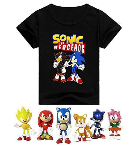 SUPFANS Kids Sonic The Hedgehog Camiseta de manga corta de algodón con mini figuras de Sonic