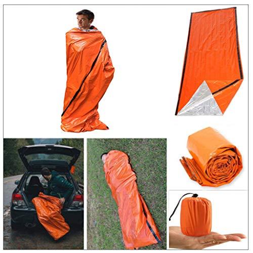 VNEIRW Notfallzelt, Notschlafsack, Biwaksack Survival Schlafsack, Wasserdicht für Outdoor Survival Camping Wandern, Ultraleicht Hitzeabweisend Kälteschutz (Orange)