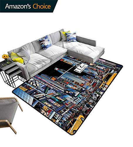 Buy City Vegetables Area Rug Boys Room, Cartoon Style New York Night Scene Advertisements Crowded St...