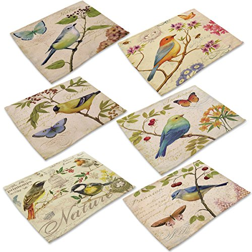 Cotton Linen Placemats Set of 6 Bird Ink Painting Dining Table Mats for Kitchen by Marstree