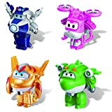 Super Wings - Transform-a-Bots Airplane Toys | 4 Pack | Supercharged Paul, Supercharged Dizzy, Golden Boy, & Mira | 2' Scale | Fun Preschool Toy Set for 3 4 5 Year Old Boys and Girls | Birthday Gift