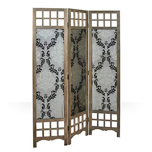 Homestyle4u 976, Paravent Raumteiler 3 teilig, Holz Stoff, Barock Design, Braun Grau