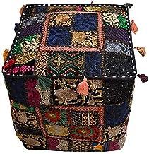 Vintage Patchwork Poef Cover,Handgemaakte Vierkante Katoen Ottomaan,Decoratieve Patchwork Geborduurde Poeffe,Mooie Home De...
