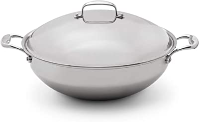 Heritage Steel 13.5 Inch Wok with Lid - Titanium Strengthened 316Ti Stainless Steel Pan with 5-Ply Construction - Induction-Ready and Fully Clad, Made in USA