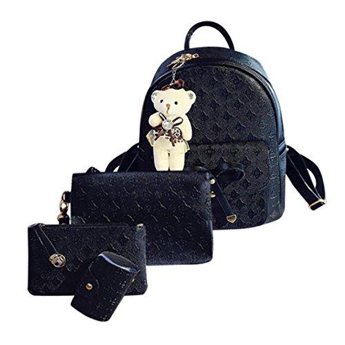 Moonuy,Frauen Wristlet Rucksäcke Mode Leder Nette Schultertasche Schulrucksäcke Cardbags Für Frauen Mädchen Brieftasche Für Weibliche Handtasche (Schwarz)