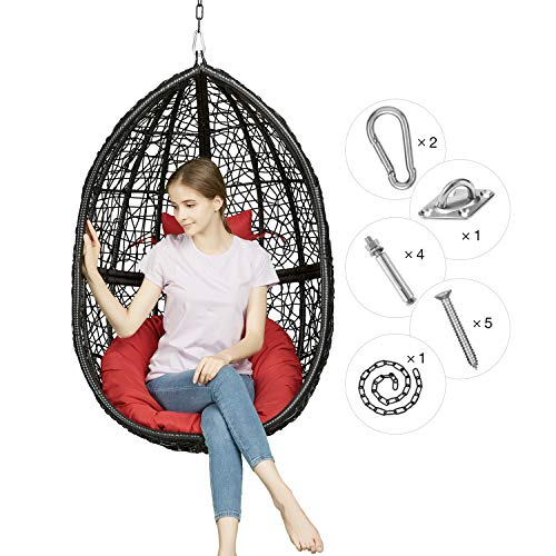 Greenstell Rattan Wicker Egg Hammock Chair with Hanging Kits,Weather Fastness Hanging Chair with Comfortable Brown Cushion and Pillow,Basket Swing Chair for Indoor,Outdoor Bedroom,Patio,Garden (Brown)