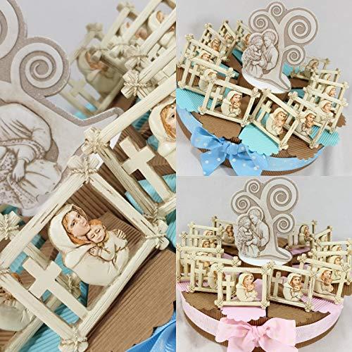 Bomboniere battesimo bimba/o Sacra Famiglia completa di torta e confetti (torta 35 fette 3 piani, maschio)