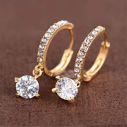 Janly Clearance Sale Pendientes para mujer, versión coreana, regalo para el día de San Valentín, pendientes de diamantes completos, joyas y relojes para Navidad Día de San Valentín (oro)