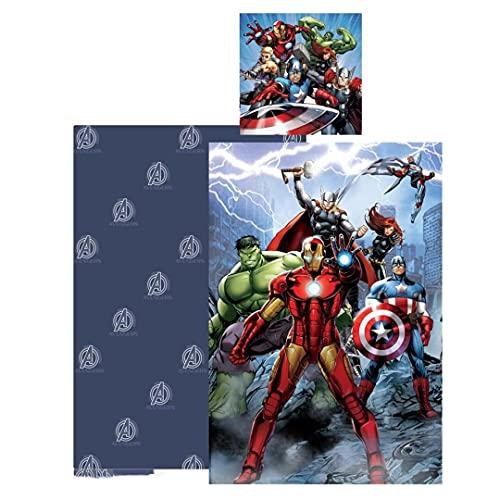 AYMAX S.P.R.L. Disney Avengers Juego de ropa de cama infantil, funda nórdica de 140 x 200 cm y funda de almohada de 65 x 65 cm, algodón