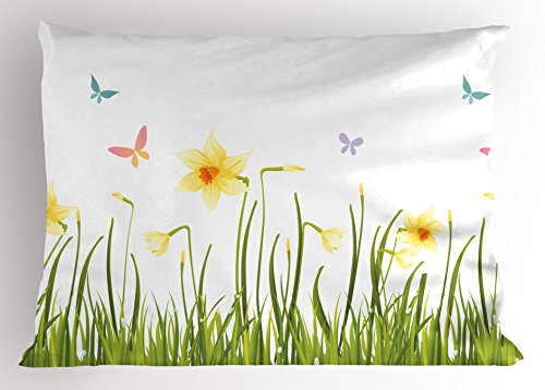 Lunarable Daffodils Pillow Sham, Daffodil Field with Butterflies Meadow and Grass Springtime Park Easter Print, Decorative Standard Queen Size Printed Pillowcase, 30
