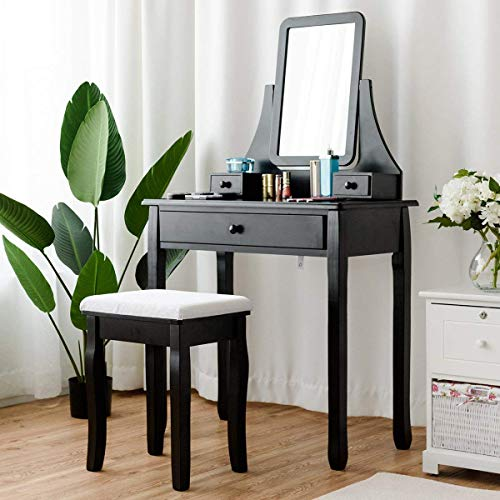 ReunionG Vanity Set, Multifunction Makeup Writing w/Drawers, 360°Rotatable Square Mirror and Cushioned Stool, Dressing Table Desk for Home Bedroom (Black)
