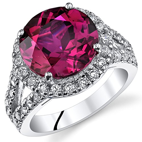 6.75 Carats Created Ruby Engagement Ring Sterling Silver Size 7