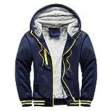 Misaky Teen Boys's Fashion Hodie, Winter Warm Fleece Hood Zipper Coat Jacket (H_Dark Blue, 4XL)
