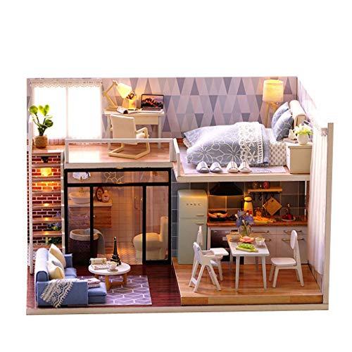 Casa de muñecas DIY en miniatura con muebles, kit de casa de muñecas con muebles de madera claros, juguetes creativos para niños, regalo para muñecas