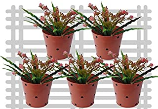 Railing planter impex Round Dotted Railing Planter/Plant pots (Orange, Pack of 5)?