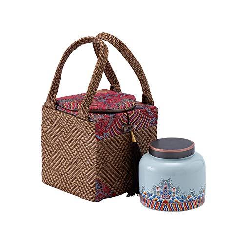noyydh Latas de té de cerámica de tazón de Taza de té de antigüedad, contenedores con Tapas, frascos de Galletas y Botellas de Almacenamiento de Especias