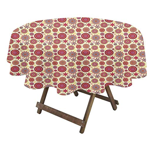 prunushome Moroccan Table Cloth Various Different Abstract Blossoms and Dots in Square Form Round Mexican Figures for Dining Room Party Outdoor Picnic Multicolor   36' Round