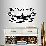 Calcomanía De Vinilo De Pared El Agua Es Mi Cielo Frase Cita Natación Chica Mujer Nadador Mariposa Deportes Diseño Mural Extraíble 110X56Cm