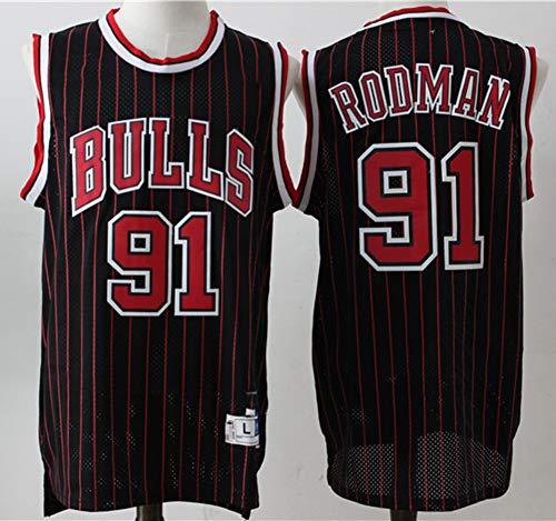 TGSCX Camiseta de baloncesto para hombre, de la NBA Chicago Bulls 91 # Dennis Rodman, cómoda, ligera, transpirable, de malla bordada Swingman Retro, camiseta de manga corta, talla C, XXL