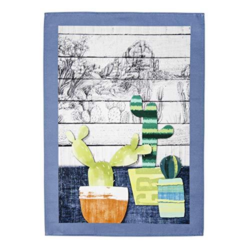 Multicolore Torchon Cactus Bleu | Série Gila | 100% Coton 50 x 70 cm