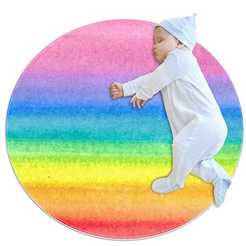 HDFGD Alfombra redonda de los niños de la alfombra redonda antideslizante de la zona redonda alfombra lavable del piso, acuarela colorida pintura del arco iris