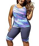FARYSAYS Women's Sleeveless Top and Cropped Pants Two Piece Unitard Tankini Swimsuit, (US 12-14)L, Purple Grey