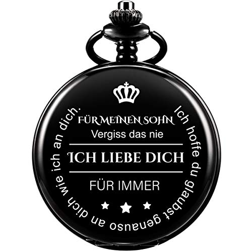 Taschenuhr mit Gravur Kette Herren Geschenk von Einem Vater/Einer Mutter zu Einem Sohn Geschenk Quarz Taschenuhr Schwarz