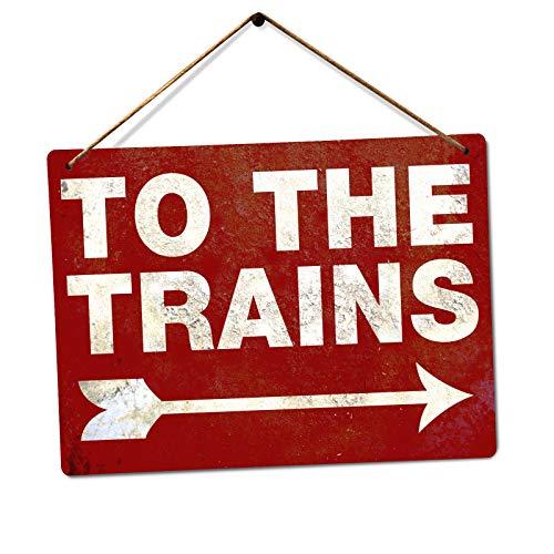 Targa da Parete in Metallo con Scritta To The Trains Rosso Colore C-US-lmf379581