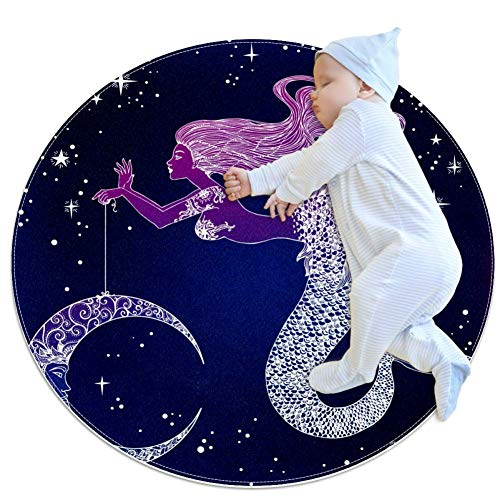 TIZORAX Zotteliger Teppich Meerjungfrau mit Mond in Ihrer Hand, runder Teppich, Bodenmatte für Wohnzimmer, Schlafzimmer, Kinderzimmer, Heimdekoration, Polyester, multi, 100x100cm/39.4x39.4IN